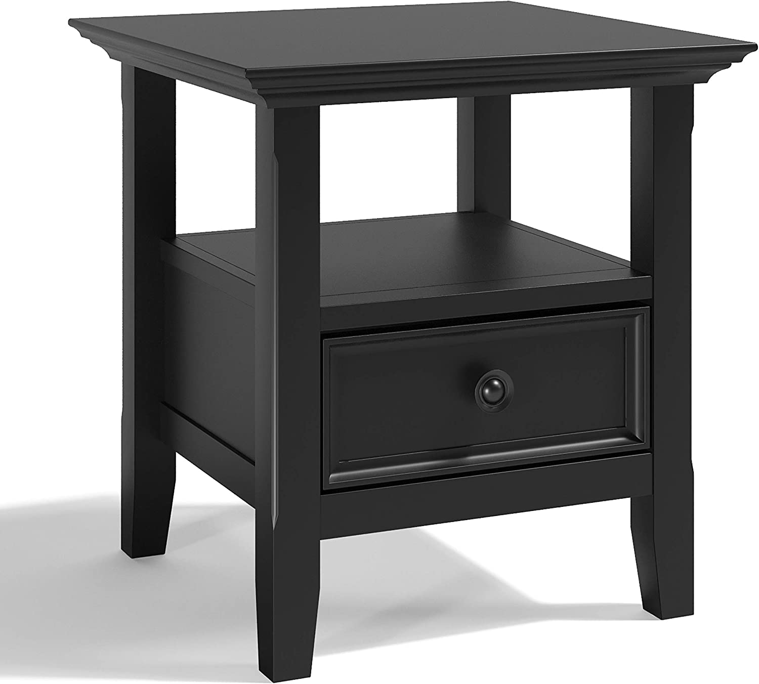 SIMPLIHOME Amherst SOLID WOOD 19 inch wide Square Transitional End Side Table in Black with Storage, 1 Drawer and 1 Shelf, for the Living Room and Bedroom