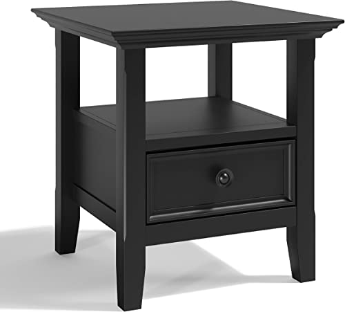 SIMPLIHOME Amherst SOLID WOOD 19 inch wide Square Transitional End Side Table