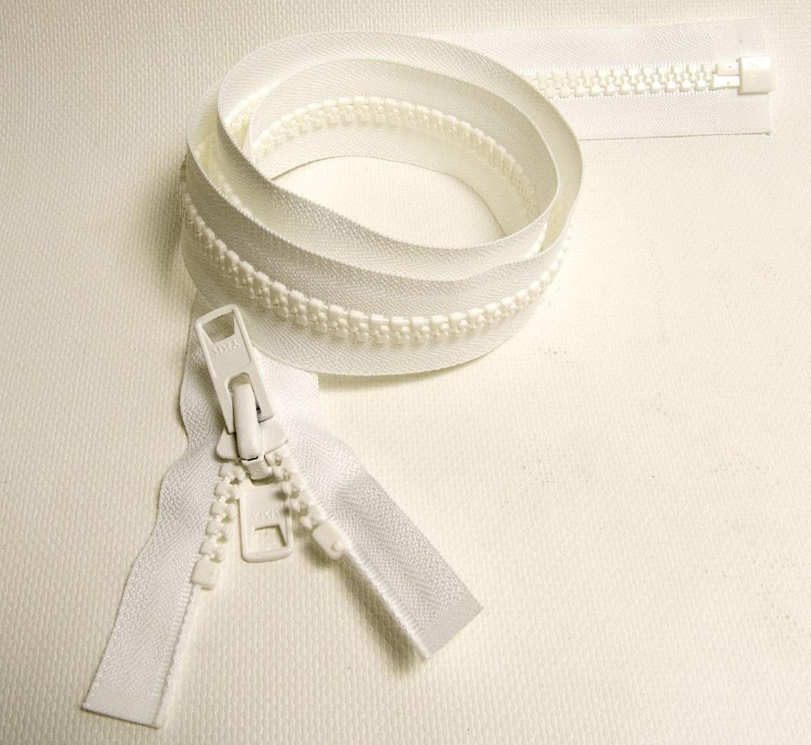 YKK #10 Boat Top Zipper, White 72'' Inch, Seperating Double Metal Tab Slider