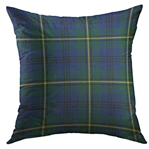 Mugod Decorative Throw Pillow Cover for Couch Sofa,Yellow Lockerby Johnston Clan Tartan Blue Green Plaid Scottish Home Decor Pillow Case 18x18 Inch