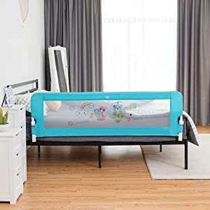 BABY JOY Bed Rails for Toddlers, 69 Inch Extra Long w/Safety Straps, Swing Down Safety Bed Guard for Convertible Crib, Folding Baby Bedrail for Kids Twin Double Full Size Queen & King Mattress (Blue)