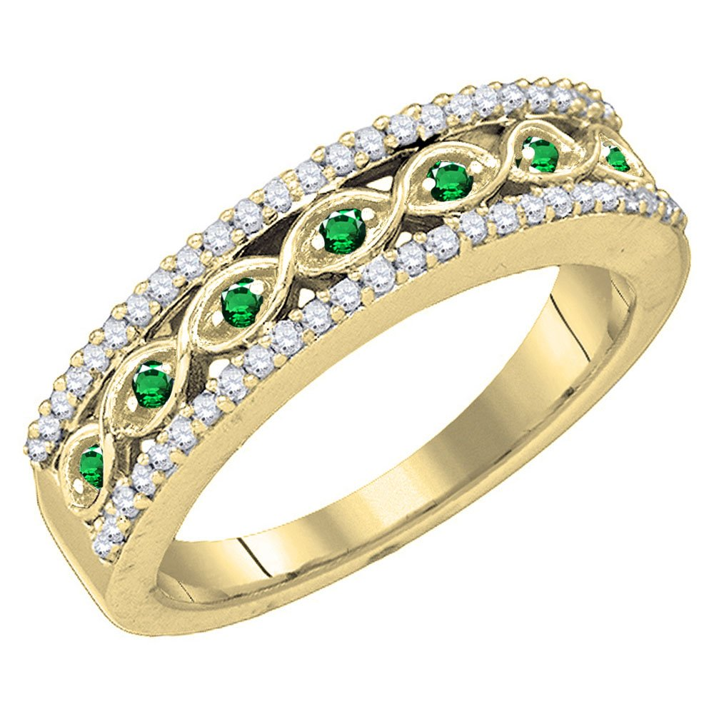 10K Yellow Gold Round Tsavorite & White Diamond Ladies Wedding Band (Size 7)