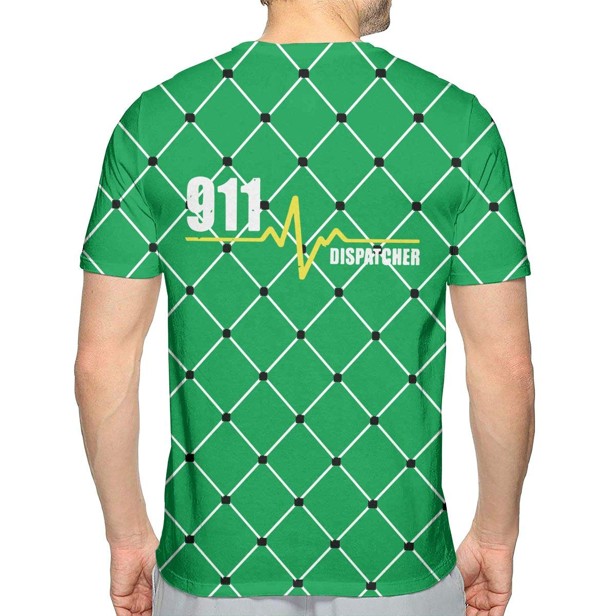 911 Dispatcher Heartbeat Thin Gold Line Mens Fashion Short Sleeve T Shirts