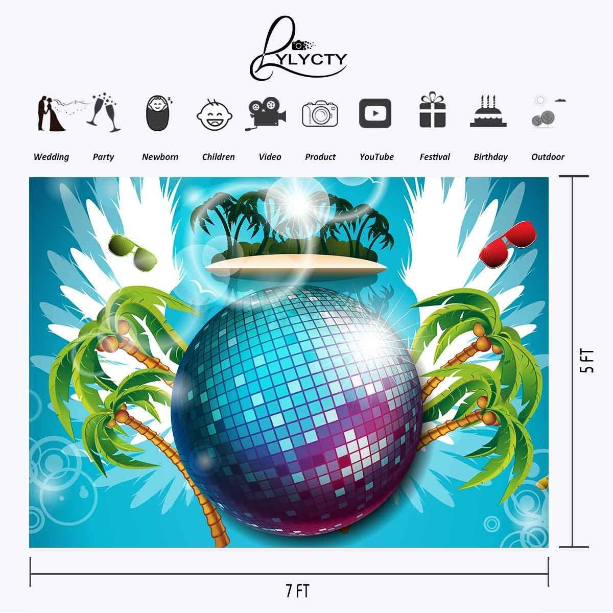 CdHBH 7x5ft Backdrop Palm Trees Beach Sea Photography Background Baby Adult Portrait Photo Booth Wallpaper Photocall Studio Props LYZY0109