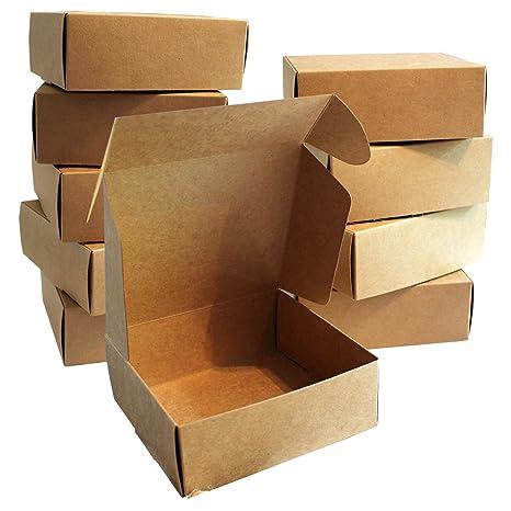 Kurtzy Pack 10 Cajas de regalo Cartón Marrón de 13 x 12 x 5 cm -