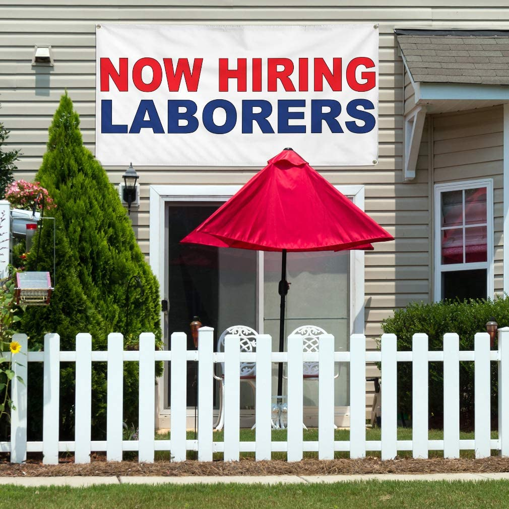 Vinyl Banner Multiple Sizes Now Hiring Laborers Red Blue Business Outdoor Weatherproof Industrial Yard Signs 10 Grommets 60x144Inches