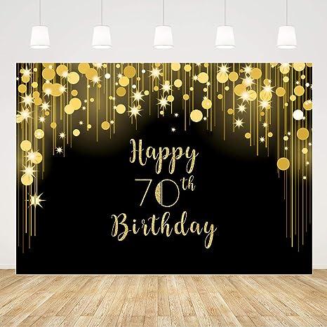 Happy 70th Birthday Backdrop Black And Gold 70 Birthday Amazon Co Uk Camera Photo