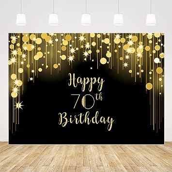 Amazon.com: Fondo para 70 cumpleaños, color negro y dorado ...