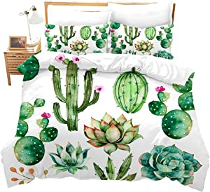 Feelyou Bright Cactus Printed Bedding Set Full for Girls Boys Green Plants Succulents Bedding Duvet Cover Kids Teen Nature Art Soft Microfiber Bedroom Decorative 3 Piece Comforter Cover Chic
