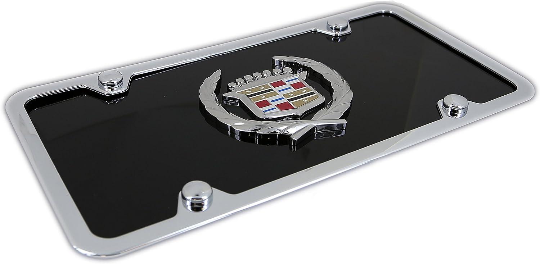 Cadillac Classic Logo Black Acrylic License Plate with Chrome Frame Kit