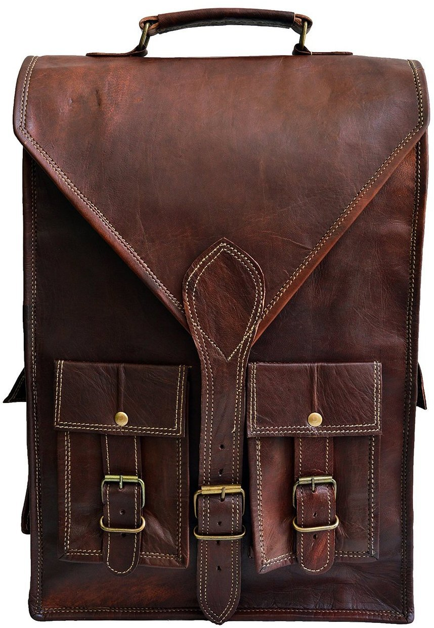 Jaald convertible leather 15.6'' laptop bag backpack messenger bag satchel briefcase