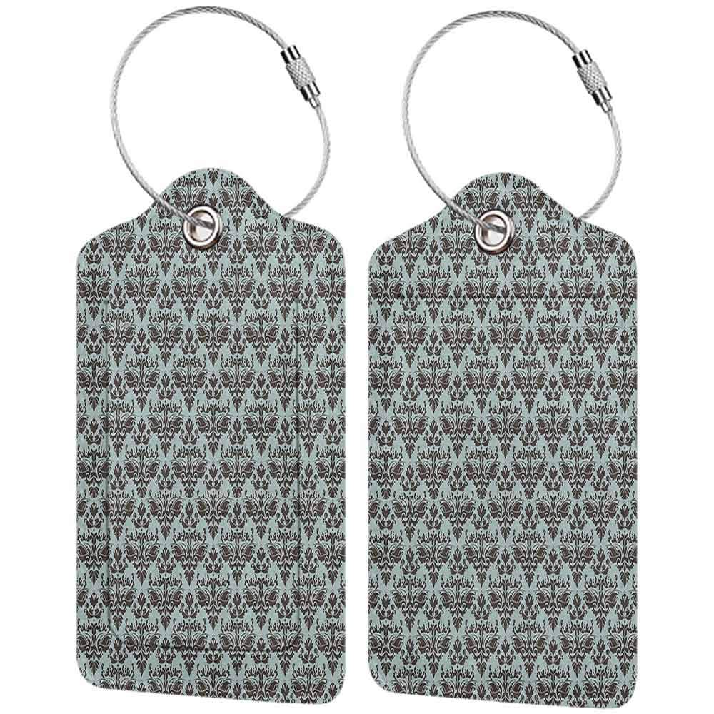 Flexible luggage tag Damask Decor Damask Shapes Motif Western Modular Leaves And Rayon Curving Lines Creative Floral Design Fashion match Teal Brown W2.7 x L4.6