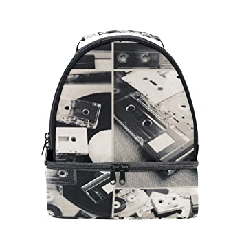 6047191b8cb Image Unavailable. Image not available for. Color  ALIREA Audio Tapes And Vinyl  Record Lunch Bag Dual Deck Insulated Lunch Cooler Tote Bag Adjustable