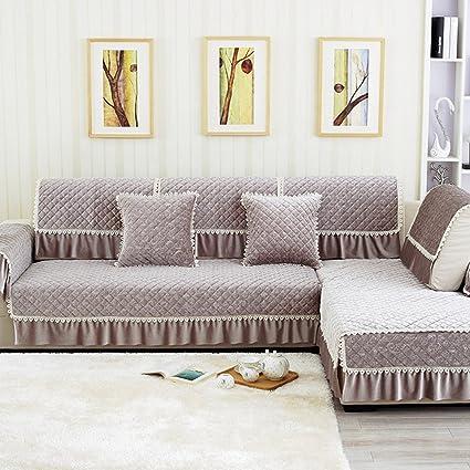Ordinaire LVYING Four Seasons Sofa Slipcover Solid Cotton Fabric Lace Vertical Design  Slip Resistant Sofa Towel