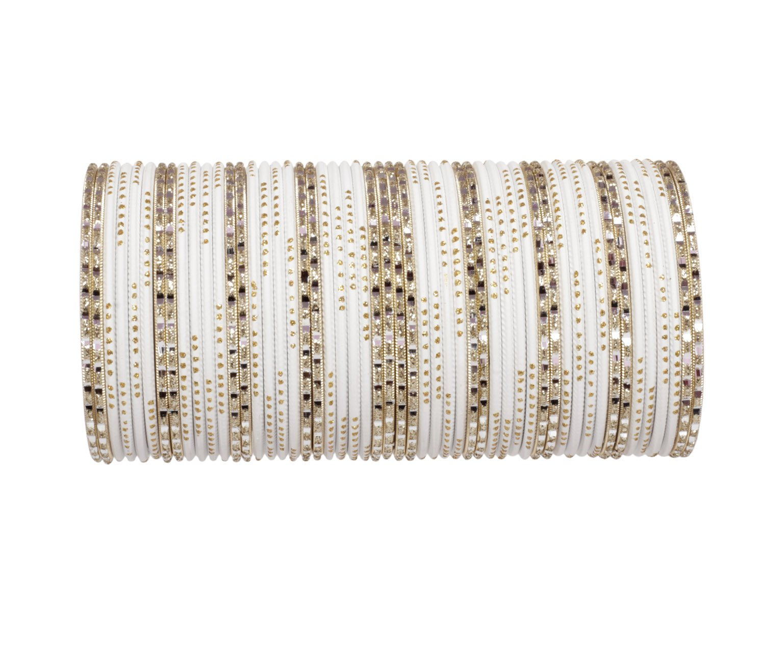 Ratna Traditional White color Golden bangle set made Beautiful Bride Wedding wear Ethnic bangles (2.6)