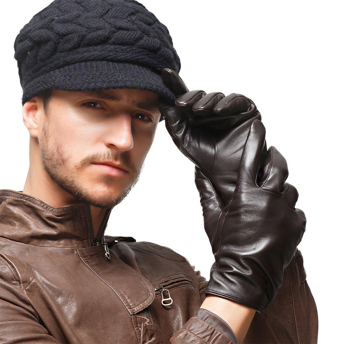 Nappaglo Herren klassische Lammfell Leder Handschuhe Touchscreen Reines Kaschmir-Futter Winter Warm Handschuhe DCE011