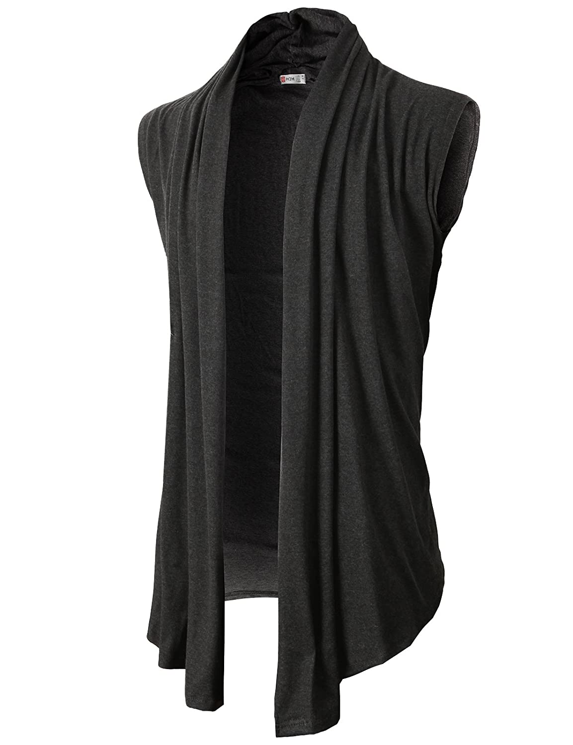COOFANDY Men's Ruffle Shawl Collar Sleeveless Cardigan Vest Long ...
