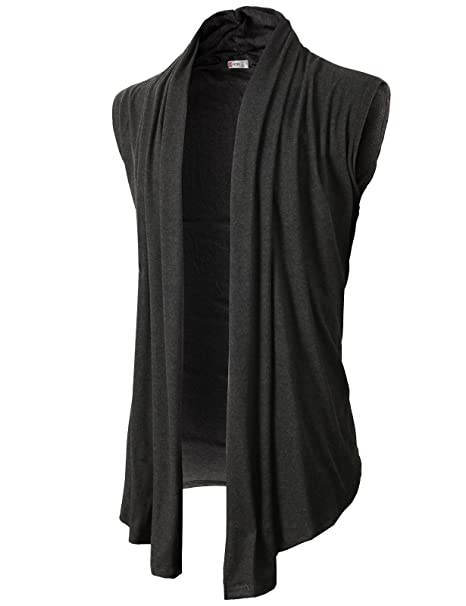 393107e8c6 H2H Men s Shawl Collar Sleeveless Cardigan With No Button CHARCOAL US 2XL Asia  3XL (