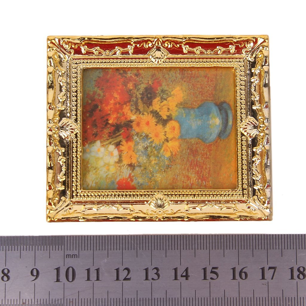 WOVELOT 1:12 pittori di Olio Fiore Cornice plastica Dorata mobili casa delle Bambole in Miniatura
