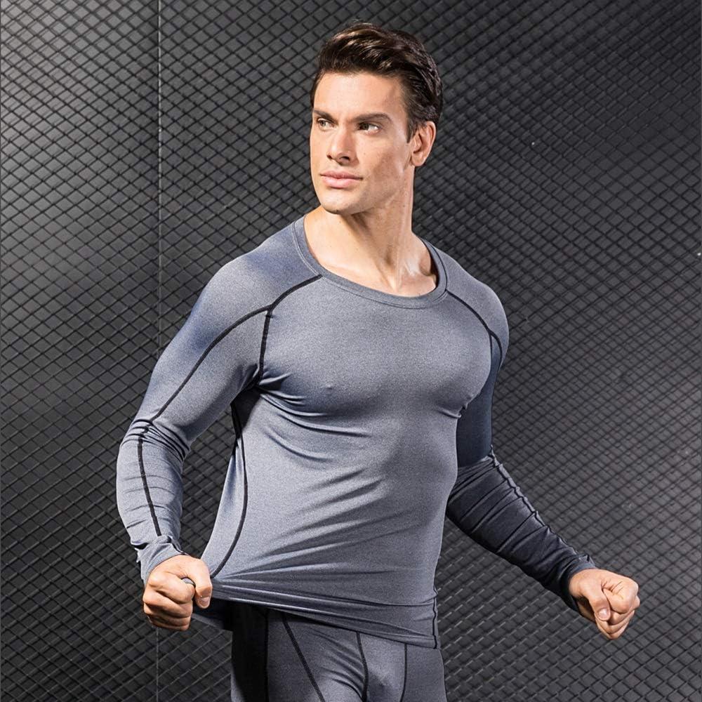 Niksa 2 Pezzi Fitness T-Shirt Maglia Compressione Uomo Maniche Corte Asciugatura Rapida Maglia da Sport per Corsa Palestra