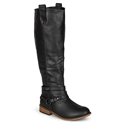 Journee Collection Women's 'Walla' Regular and Wide-Calf Ankle-Strap Knee-high Riding Boot | Boots