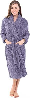 Alexander Del Rossa Womens Solid Color Fleece Robe, 3/4 Length Plush Microfiber Bathrobe
