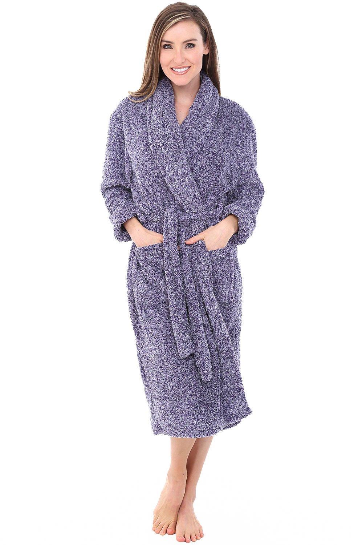 Alexander Del Rossa Womens Fleece Robe, Plush Microfiber Bathrobe, Large XL Two Tone Purple (A0302CDPXL) by Alexander Del Rossa (Image #1)