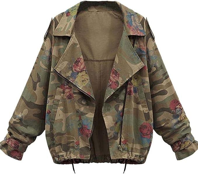 Minetom Donne Autunno Inverno Giacche Camouflage Giacche Militare Giacca Di Jeans Moda Denim Cappotti Coats