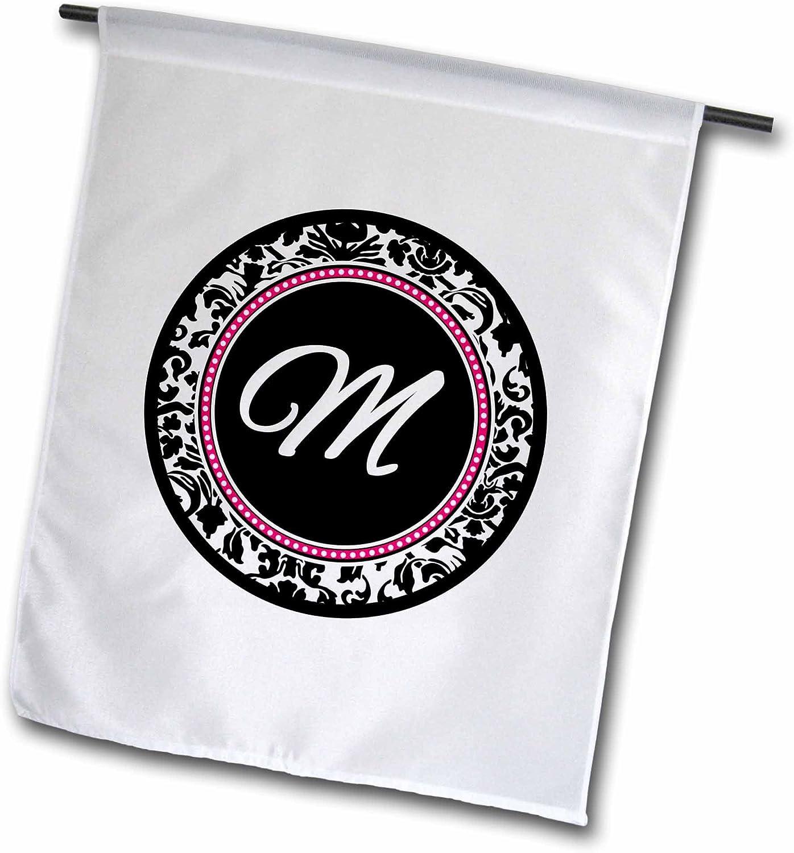"3dRose fl_154605_1""Letter M Monogram Circle -Initial Personalize Black Damask Hot Pink Garden Flag, 12 x 18"
