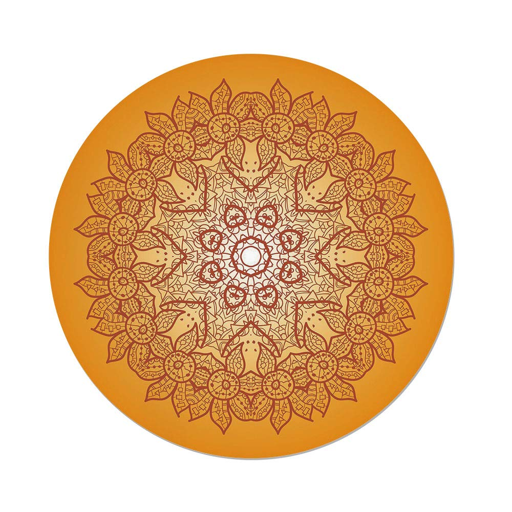 iPrint Polyester Round Tablecloth,Yellow Mandala,Delicate Arabic Ethnic Mehndi Style Authentic Festive Composition,Brown Orange White,Dining Room Kitchen Picnic Table Cloth Cover,for Outdoor Indoor