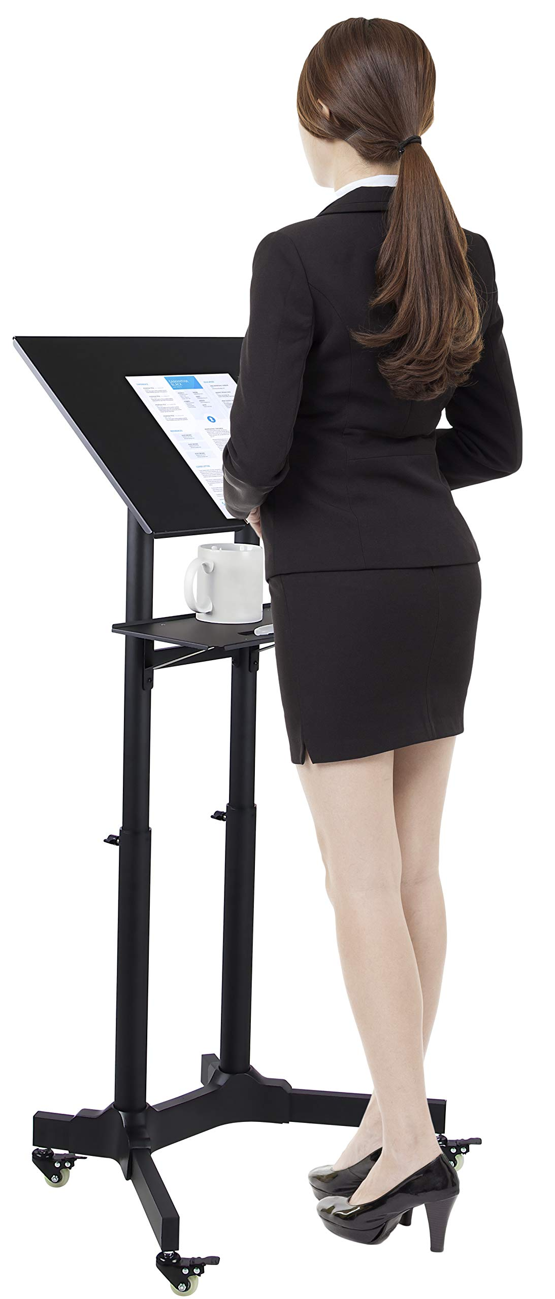 Mount-It! Mobile Standing Height Desk, Portable Podium and Rolling Presentation Lectern, Laptop Stand Up Desk with Caster Wheels (MI-7971) by Mount-It!