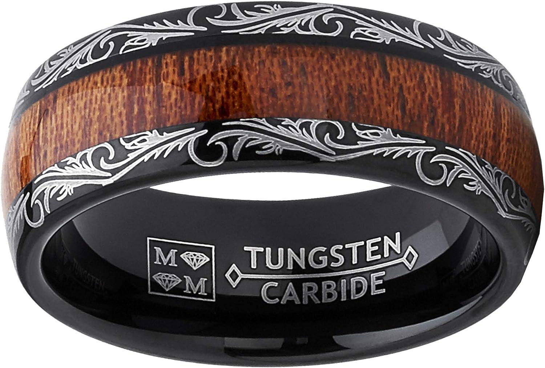 Metal Masters Co Mens Black Tungsten Carbide Wedding Band Koa Wood Inlay Floral Design Engagement Ring