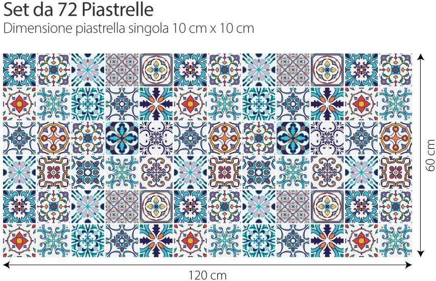 Pack 36 pi/èces Autocollants de Carreaux Taille 10x10 cm - Made in Italy - PS00074 PVC Autocollants pour Salle de Bain et Cuisine Carreaux Design Autocollants - Estoril Art Mural