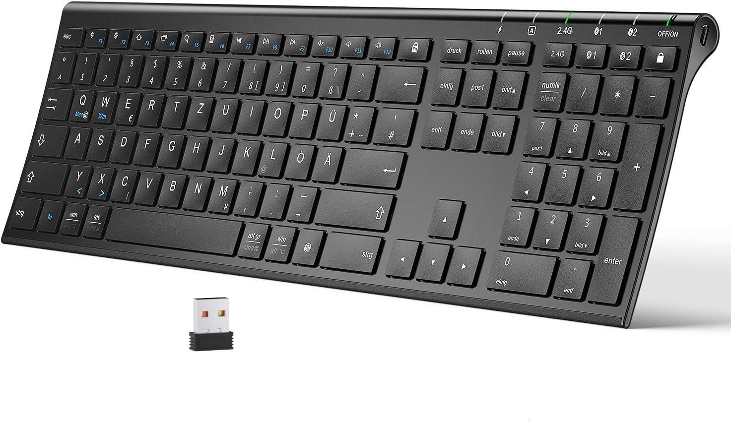 Teclado Bluetooth, doble Bluetooth + teclado inalámbrico 2.4G Multi Dispositivos QWERTZ Ultra Slim recargable para Mac, iPhone, Windows, Android, iOS, ...