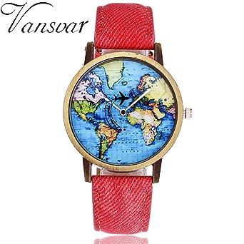 118abbb467 Amazon.co.jp: 時計女性、腕時計、グローバル旅行平面でマップアナログ ...