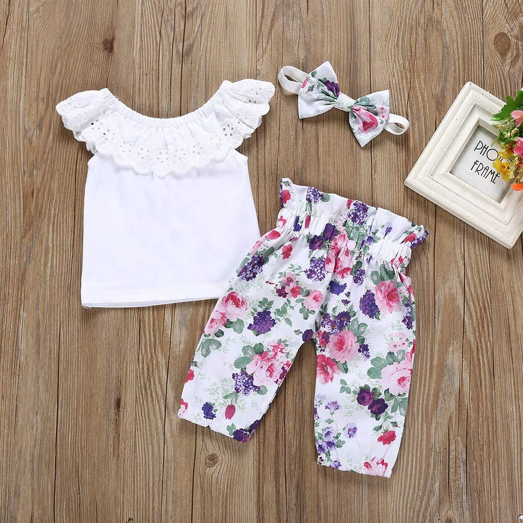 Pantaloni a Fiori Fascia 3 Pezzi Costume Set Primaverili Estate 0-18 Mesi Bambini Neonato feiXIANG T-Shirt Tinta Unita