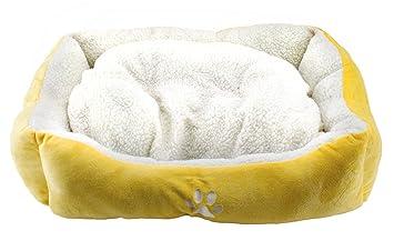 BPS® Cama para Perros y Gatos Cálido Cubierta Suave Tipo Cuna Mullida BPS-1528 (Amarillo): Amazon.es: Hogar