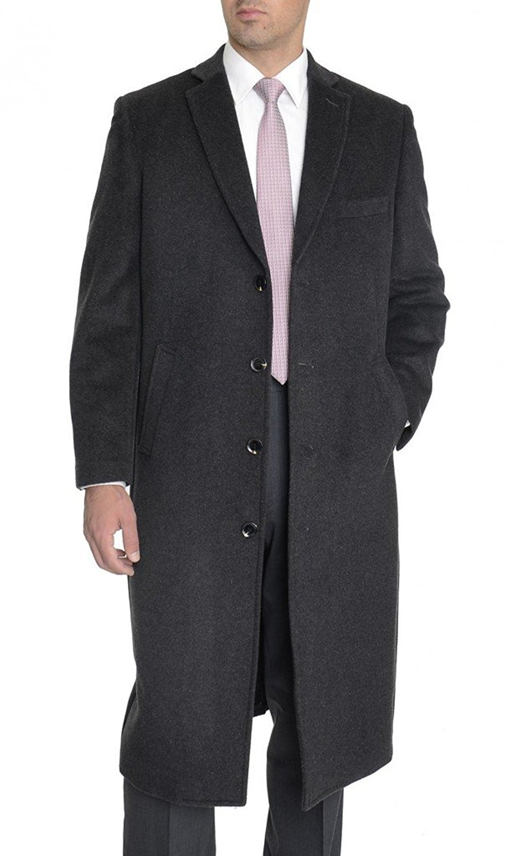 Enzo Tovare Men's 54805 Overcoat Single Breasted Luxury Wool/Cashmere Full Length Topcoat- Charcoal - 38 Regular