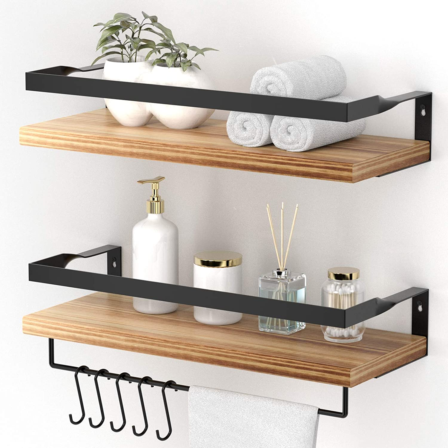 Amazon Com Endoto Floating Shelves With Towel Bar Wall Mounted Storage Organizer For Bathroom Kitchen Bedroom Living Room Hallway Set Of 2 Dining