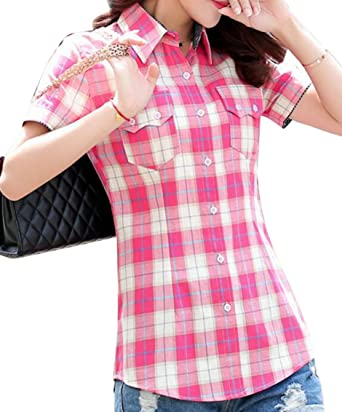 f01359ea0e1 SYTX Womens Summer Short Sleeve Checked Button Front Blouse Shirts Top 1 S