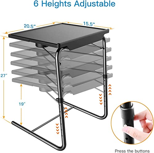 Adjustable TV Tray Table – TV Dinner Tray on Bed Sofa, Comfortable Folding Table with 6 Height 3 Tilt Angle Adjustments by HUANUO 2 pack