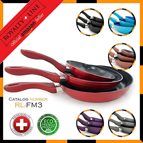 Royalty Line RED 3 Pc Forged Aluminium Frying Pan Set with ...