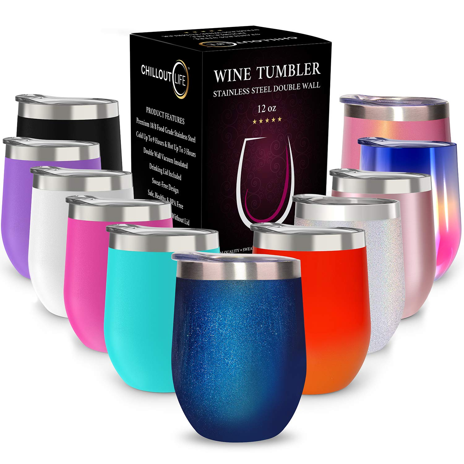 Stainless Steel Stemless Wine Glass Tumbler | Double Wall Vacuum Insulated Travel Tumbler Cup for Coffee, Wine, Cocktails, Ice Cream | Unbreakable, BPA Free, Powder Coated (Blue Sparkle, 12 oz)