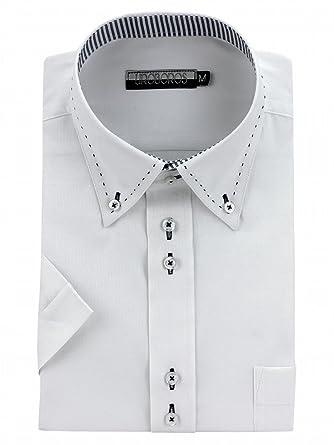 722e834f9e6503 Amazon | 【601】LL スリム 形態安定 半袖 ワイシャツ 4サイズ(S・M・L ...