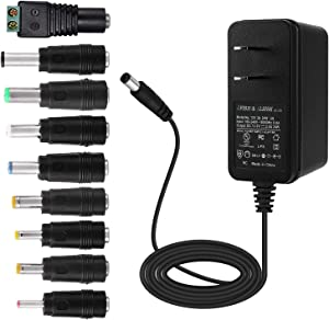 ALSISK 12V 2A 24W Power Supply Adapter,Power Plug for Home Appliances,CCTV Camera,WiFi Routers,Hubs,LED Strips,Telekom,T-Com,Speedport,Radiowecker,Scanner,Switch,ESCAM QD300+9 Different Plugs