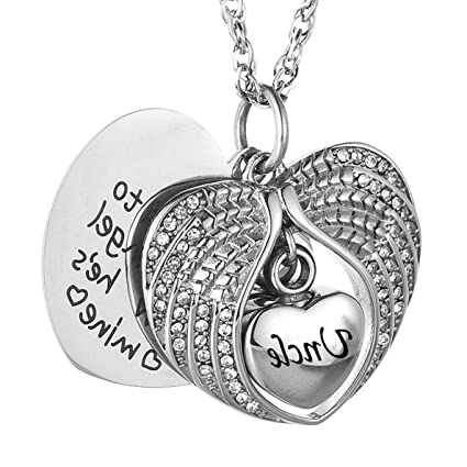 bff2c8e8b20 Mikash Angel Wings Cremation Urn Memorial Necklace for Ashes Stainless  Steel Pendant Unique Small Jewelry Special