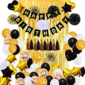 Black Gold White Balloon Birthday Party Decorations 84pcs Include 2pcs 3x8 ft Foil Fringe Door Curtains Gold confetti balloons with Metallic fringes