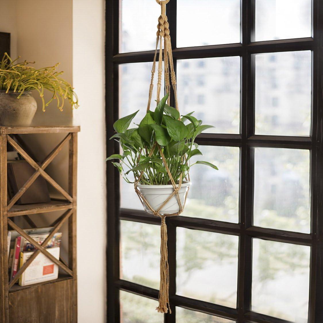 Jycra 2 pcs Plante macram/é Fleur de cintre paniers Pot de fleurs /à suspendre Corde en coton pour un int/érieur ou ext/érieur D/écor 40 inch //102cm gris