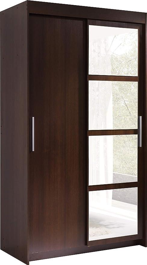 Armoire 2 Portes Coulissantes Avec Miroir Nero Largeur 120cm