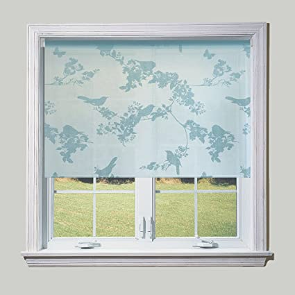 Duck Egg Blue Birds Sheer Roller Blind Width 91 5cm 3ft Amazon